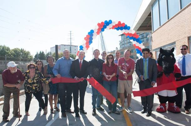 Bridge over Mockingbird Ribbon Cutting with City Council members after commissioned poem dedication | November 2017